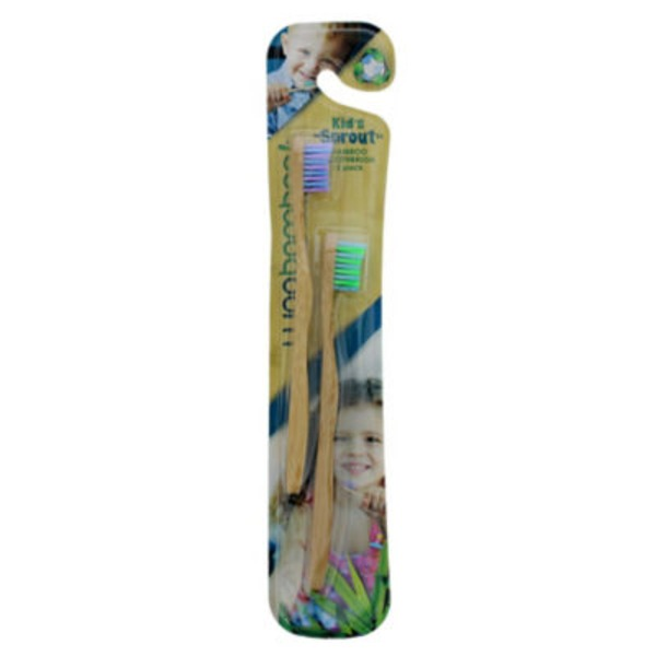 Woobamboo Wooden Handle Sprout Kids Toothbrush