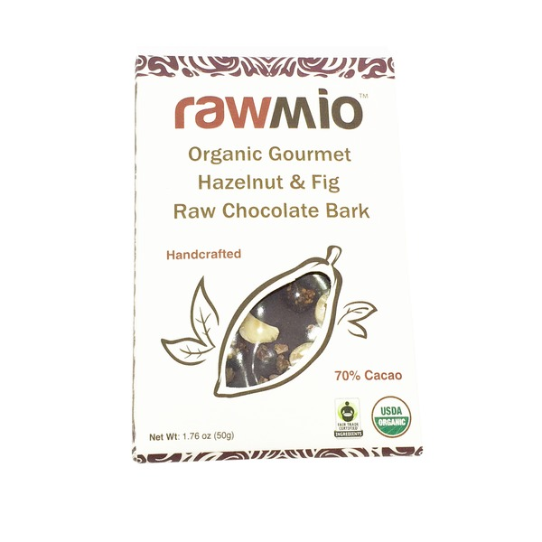Rawmio Organic Gourmet Raw Chocolate Bark Hazelnut & Fig Bar