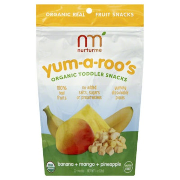 NurturMe Yum-a-roo's Organic Toddler Snacks Banana + Mango + Pineapple