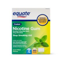 Equate Coated Nicotine Gum Stop Smoking Aid Cool Mint Flavor, 2 mg, 160 Ct