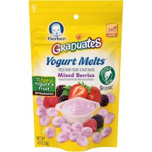 Gerber Graduates Yogurt Melts Freeze-Dried Yogurt & Fruit Snacks, Mixed Berries, 1 oz