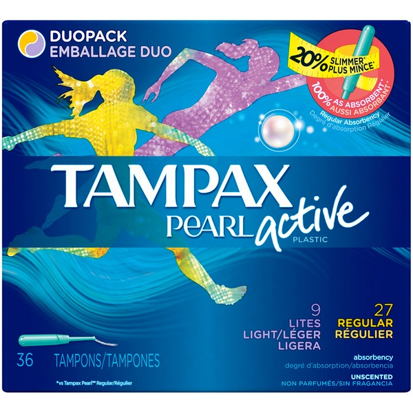Tampax Pearl Active Tampax Pearl Active Plastic Duopack Light/Regular Absorbency, Unscented Tampons 36 Count  Feminine Care