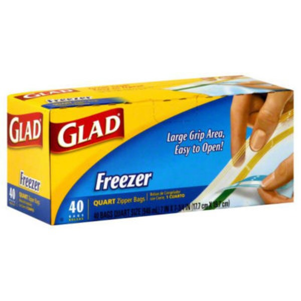 Glad Freezer Bags, Zipper, Quart Medium