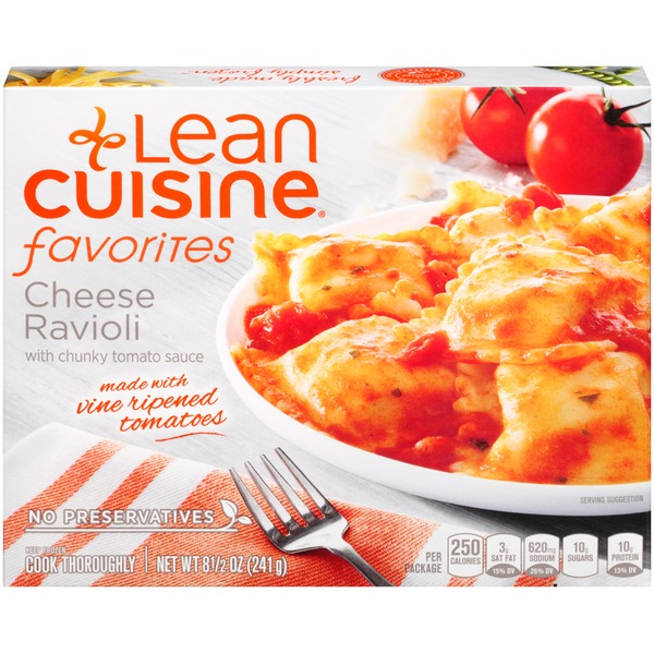 Lean Cuisine Favorites Cheese ravioli with chunky tomato sauce. Cheese Ravioli