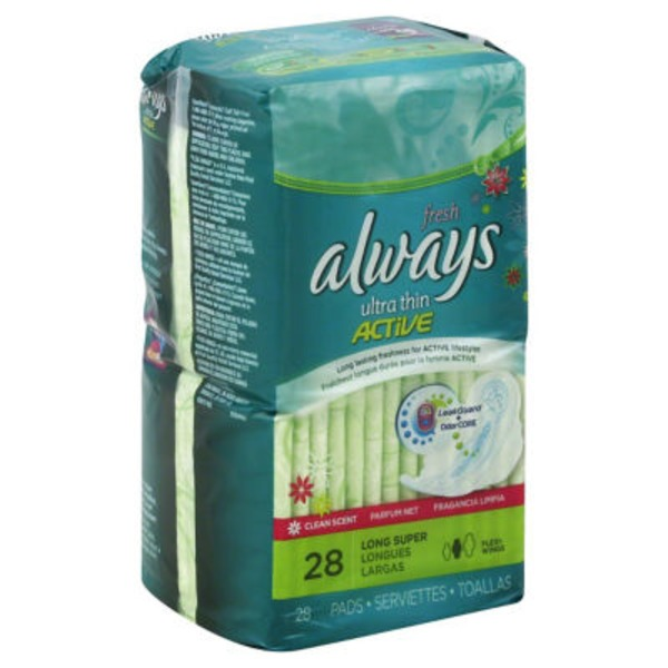 Always Fresh Always Ultra Thin Fresh Size 2 Long Super Pads With Wings, Scented, 28 count Feminine Care