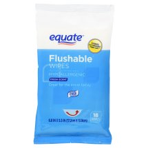 Equate Flushable Wipes, Fresh Scent, 6.8' X 5.5', 18 Ct