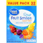 Great Value Sour Fruit Smiles, Liquid Filled, 25.6 oz, 32 Count