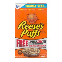 Reeses Puffs Breakfast Cereal, Peanut Butter, 22.9 oz, Family Size Cereal Box, 22.9 OZ