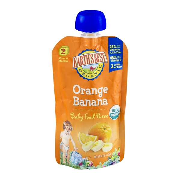 Earth's Best Organic Stage 2 Orange Banana Baby Food Puree