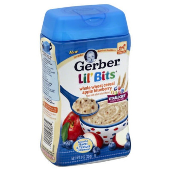 Gerber Cereal Gerber 3F Lil Bits Whole Wheat Apple Blueberry Cereal Crawler Cereal Fruit