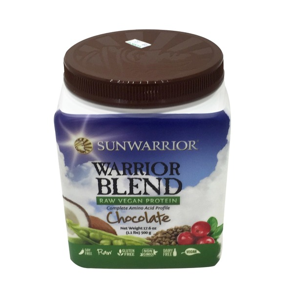 Sunwarrior Chocolate Flavor Warrior Blend Raw Vegan Protein