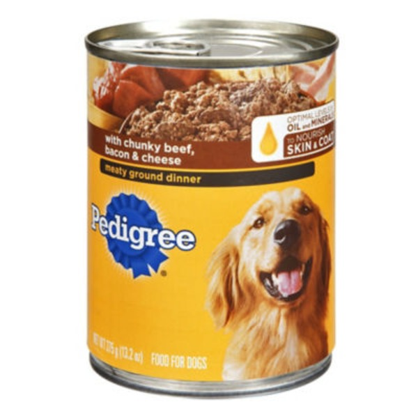 Pedigree Meaty Ground Dinner with Chunky Beef, Bacon & Cheese Wet Dog Food