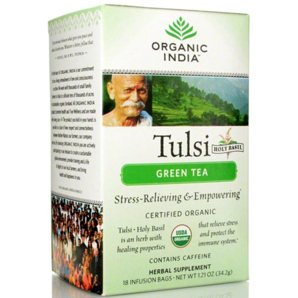 Organic India Tulsi Holy Basil Green Tea, Infusion Bags