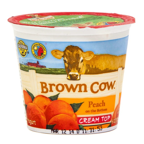 Brown Cow Cream Top Peach on the Bottom Whole Milk Yogurt