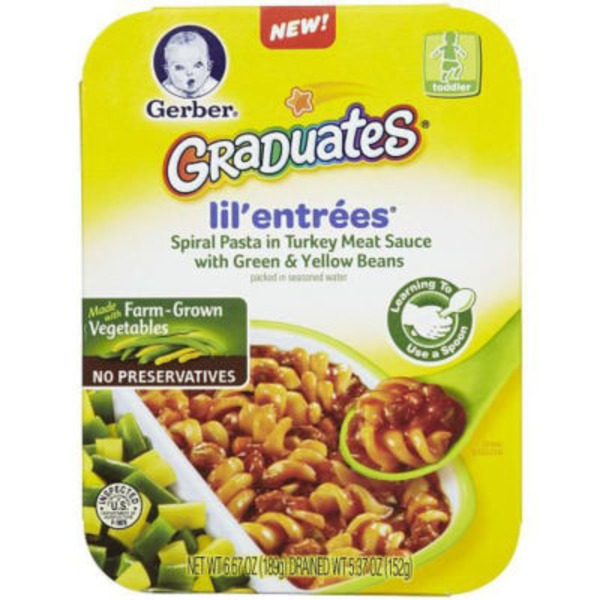 Gerber Graduates Lil' Entrees with Green & Yellow Beans Spiral Pasta in Turkey Meat Sauce