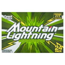 Great Value Mountain Lightning Soda, 12 fl oz, 24 Count