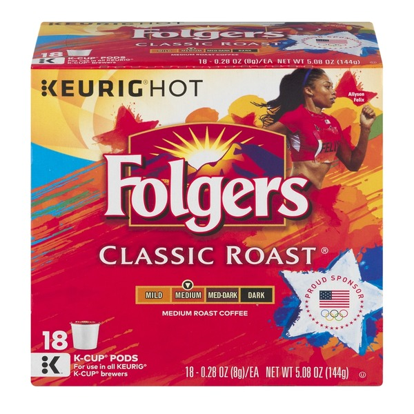 Folgers Classic Roast K-Cup Packs Medium Roast Coffee - 18 CT