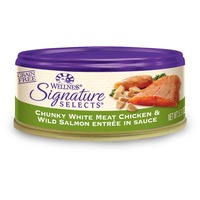 Wellness Signature Selects Grain Free Chunky White Meat Chicken & Wild Salmon Entree Canned Cat Foo