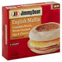 Jimmy Dean English Muffin Canadian Bacon, Whole Cracked Egg & Cheese Sandwiches