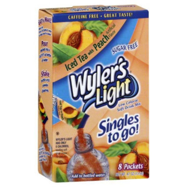 Wyler's Light Singles To Go! Low Calorie Drink Mix Sugar Free Peach Iced Tea - 8 PK