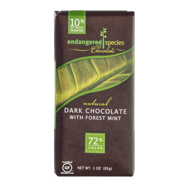 Endangered Species Chocolate Dark Chocolate With Forest Mint Bar Natural - Rainforest