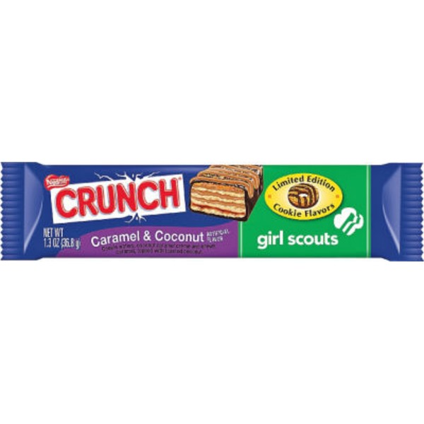 Nestle Crunch Girl Scouts Caramel & Coconut flavor with other natural flavor Candy Bar