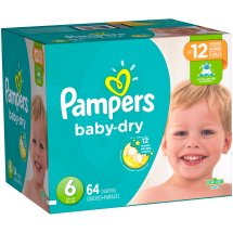 Pampers Baby Dry Diapers, Size 6, 64 Diapers