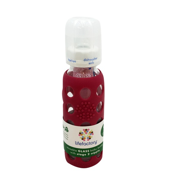 Lifefactory Glass Baby Bottle with Raspberry Silicone Sleeve