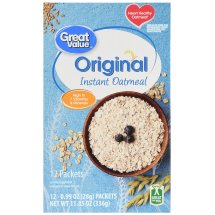 Great Value Instant Oatmeal, Original, 11.85 oz, 12 Count