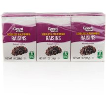 Great Value All Natural California Raisins, 1 oz, 6 count