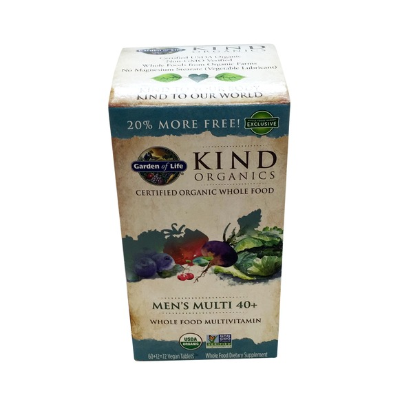 Garden of Life Kind Organics Men's Multi 40+ Whole Food Multivitamin