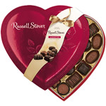 Russell Stover Valentine Assorted Fine Chocolates Red Foil Heart