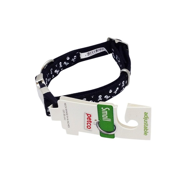 Petco Small Adjustable Black & White Skull Print Dog Collar