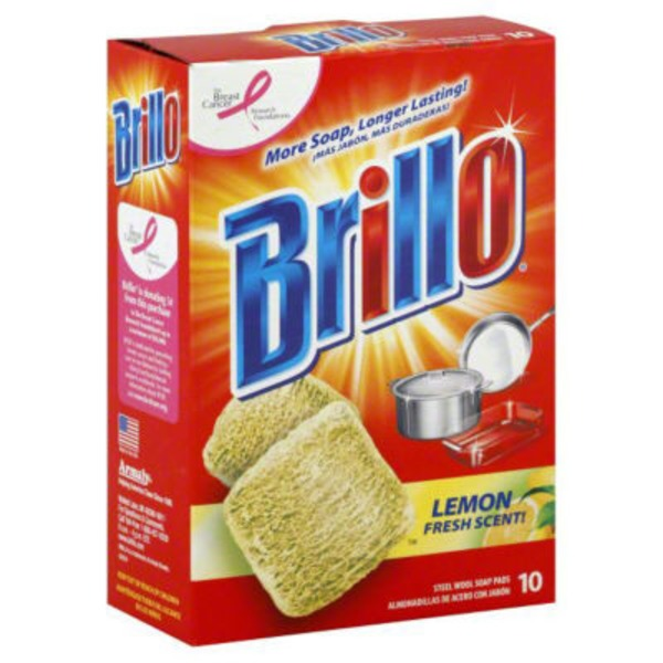 Brillo Steel Wool Soap Pads Lemon Scent - 10 CT