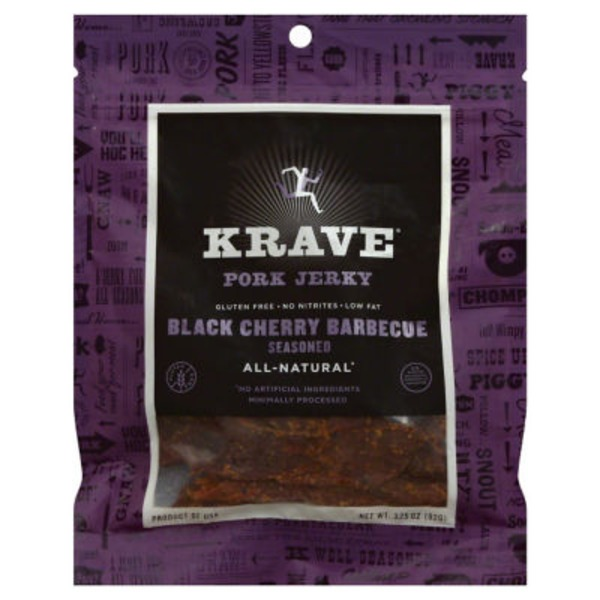 Krave Pork Jerky, Black Cherry Barbecue, 3.25 oz