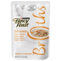 Purina Fancy Feast Broths Creamy with Chicken and Vegetables Cat Food 1.4 oz Pouch