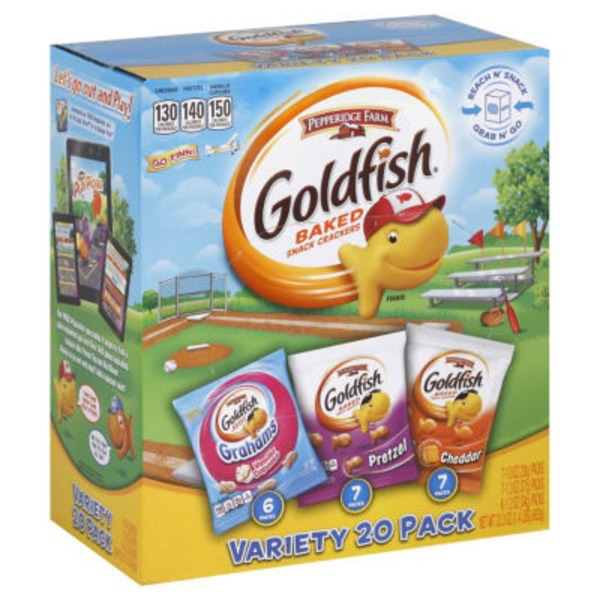 Pepperidge Farm Goldfish Whole Grain Honey Grahams/Cheddar/Pretzel Variety Pack Baked Snack Crackers