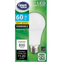 Great Value LED Dimmable A19 (E26) Light Bulb, 10W (60W Equivalent), Soft White