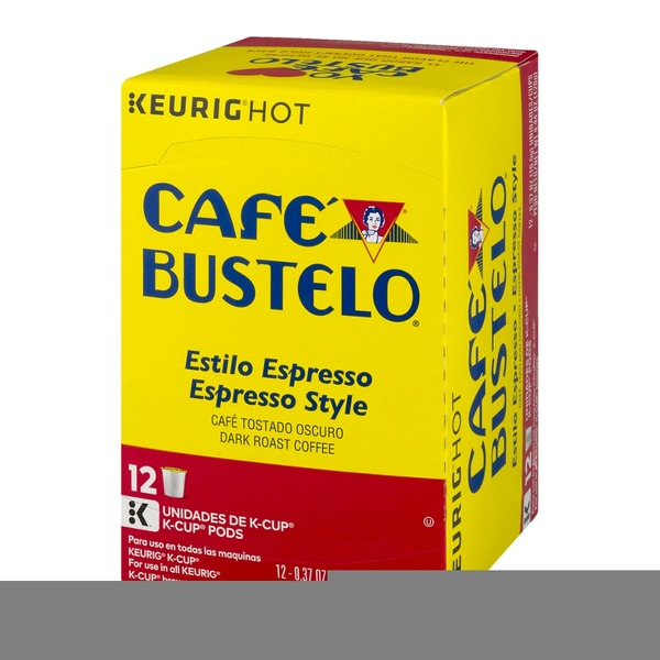 Cafe Bustelo Dark Roast Coffee K-Cup Pods Espresso Style - 12 CT