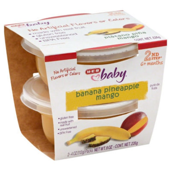 H-E-B Baby 2nd Step Banana Pineapple Mango Baby Food Cups