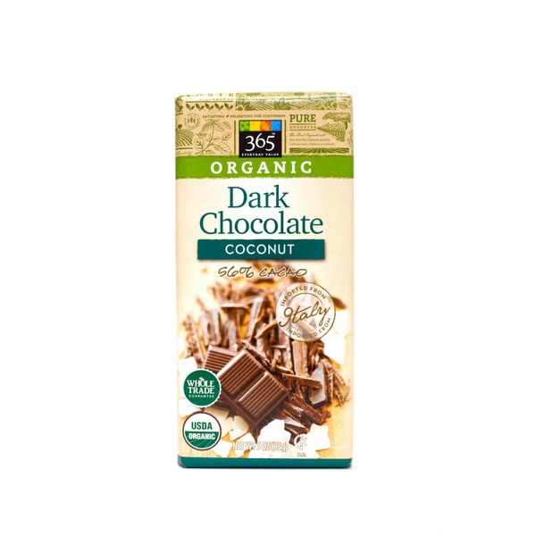 365 Organic Dark Chocolate Bar with Coconut