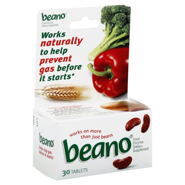 Beano Food Enzyme Dietary Supplement, Anti-Gas Tablets