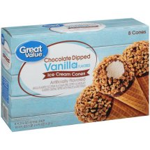 Great Value Chocolate Dipped Vanilla Flavored Ice Cream Cones, 34.4 oz
