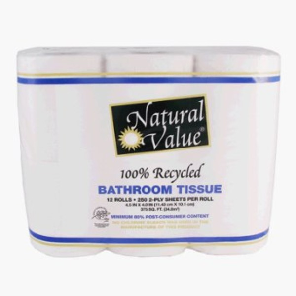 Natural Value 100% Recycled Bathroom Tissue