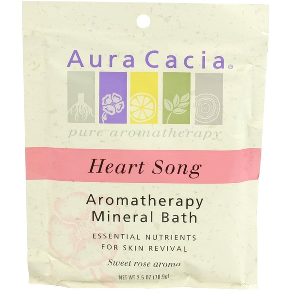 Aura Cacia Heart Song Aromatherapy Mineral Bath, Sweet Rose Aroma