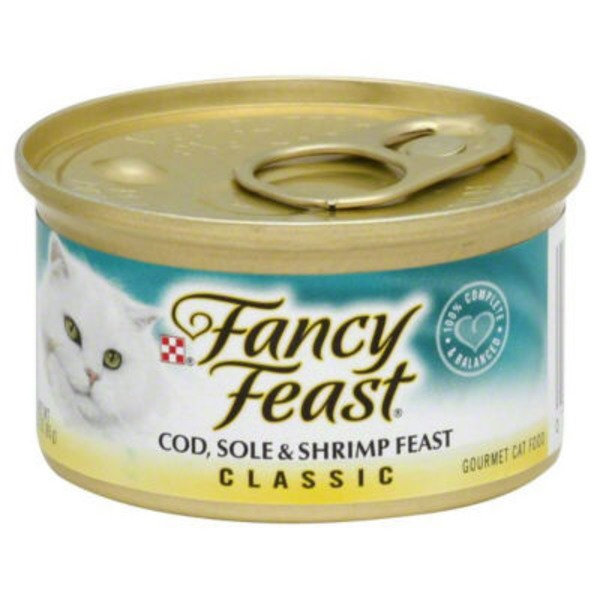 Fancy Feast Wet Classic Cod Sole & Shrimp Feast Cat Food