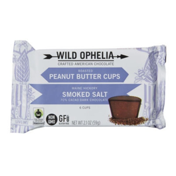 Wild Ophelia Peanut Butter Cups Smoked Salt 70% Cacao Dark Chocolate - 6 CT