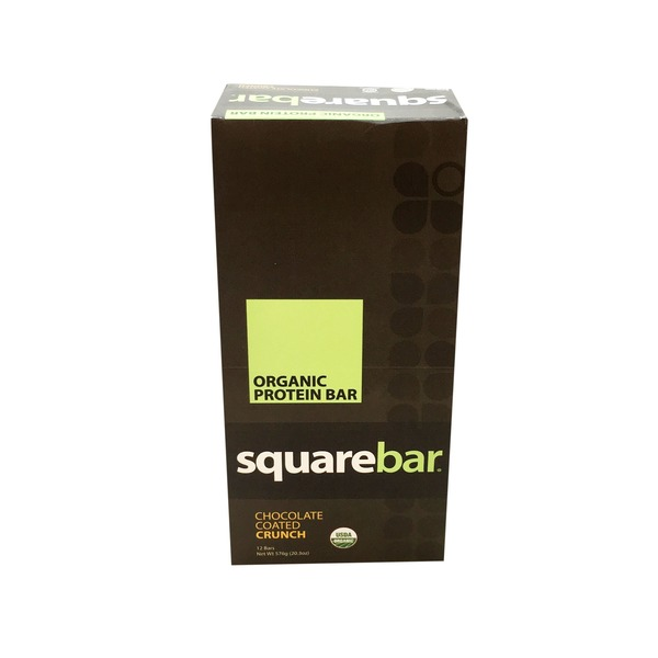 Squarebar Organic Chocolate Coated Crunch Protein Bars