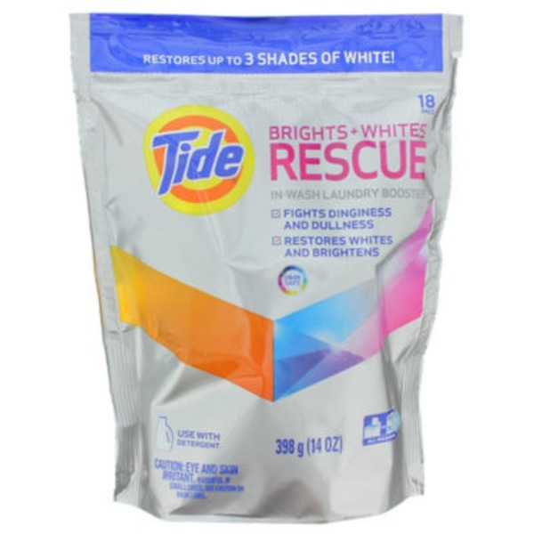 Tide Brights + Whites Rescue In-Wash Laundry Booster Pacs,18 loads Laundry Additives
