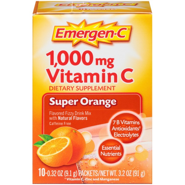 Emergen-C Super Orange Vitamin C 1000mg Drink Mix Dietary Supplement